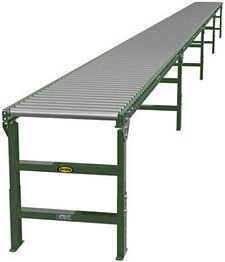 "1.9"" Galvanized Gravity Roller Conveyor - 40' long, 18"" wide, with supports"