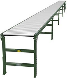 "1.9"" Galvanized Gravity Roller Conveyor - 50' long, 18"" wide, with supports"