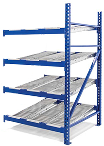 "Roller Rack Adder - 8'W x 8'D x 7'H, 4 Levels with (8) 9""W Roller Lanes Per Level"
