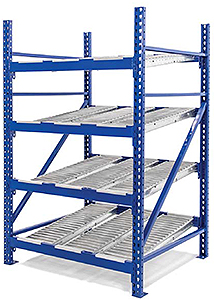 "Roller Rack Starter - 8'W x 8'D x 7'H, 4 Levels with (8) 9""W Roller Lanes Per Level"