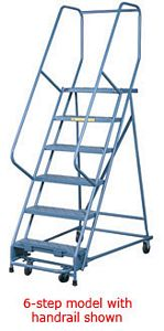 "Rolling Ladder w/ 7 Perforated Tread 26""W Steps, 70"" Platform Ht., 100"" Overall Ht."
