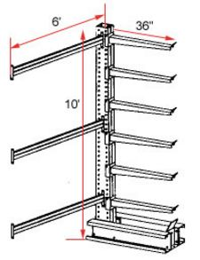 "Cantilever Rack, Extra Heavy Duty - Adder, (6) 36"" Arms - 6 Levels, 1300 Lbs. Cap."