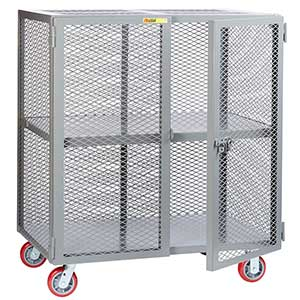"Mesh Security Truck - Fixed Center Shelf, 30""D x 72""W"