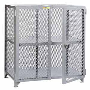 "Mesh Security Cabinet - Fixed Center Shelf, 24""D x 48""W x 52""H"