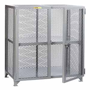 "Mesh Security Cabinet - Adjustable Center Shelf, 24""D x 48""W x 52""H"