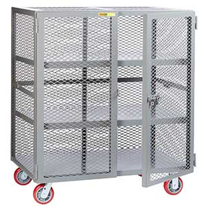 "Mesh Security Truck - 2 Fixed Center Shelves, 30""D x 60""W"