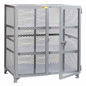 "Mesh Security Cabinet - 2 Fixed Center Shelves, 24""D x 60""W x 52""H"