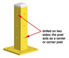 "Single High Steel Guard Post: 18"" H"