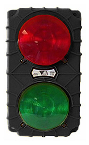 LED Dock Traffic Light with Flasher, Black Poly Housing - 115V