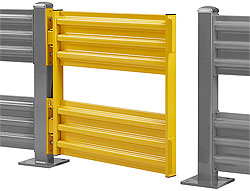 "Swinging Safety Gate for Steel Guard Rail - Double Rail 48"" W x 41.5"" H"