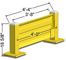 Lift-Out Steel Guard Rail - Single High Starter at 48 inch Post centers