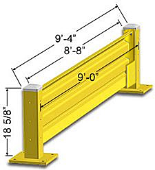 Lift-Out Steel Guard Rail - Single High Starter at 108 inch Post centers