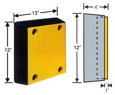 "Molded Rubber Bumper with Safety Yellow UHMW Face - 12""x13"""
