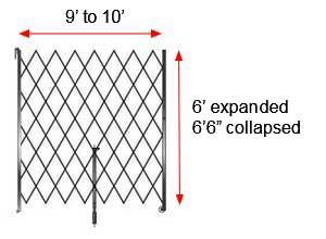 "Retractable Folding Gate, Single, 9' - 10' W, 6' 6"" Collapsed Ht, 6' Expanded Ht"