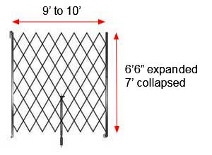 "Retractable Folding Gate, Single, 9' - 10' W, 7' Collapsed Ht, 6' 6"" Expanded Ht"