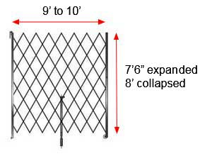 "Retractable Folding Gate, Single, 9' - 10' W, 8' Collapsed Ht, 7' 6"" Expanded Ht"