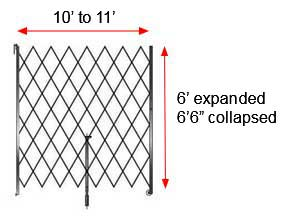 "Retractable Folding Gate, Single, 10' - 11' W, 6' 6"" Collapsed Ht, 6' Expanded Ht"