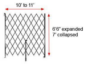 "Retractable Folding Gate, Single, 10' - 11' W, 7' Collapsed Ht, 6' 6"" Expanded Ht"