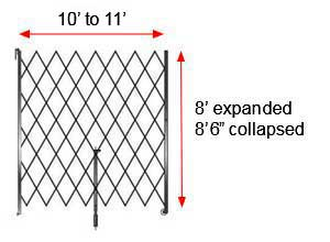 "Retractable Folding Gate, Single, 10' - 11' W, 8' 6"" Collapsed Ht, 8' Expanded Ht"