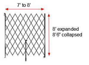 "Retractable Folding Gate, Single, 7' - 8' W, 8' 6"" Collapsed Ht, 8' Expanded Ht"