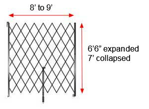 "Retractable Folding Gate, Single, 8' - 9' W, 7' Collapsed Ht, 6' 6"" Expanded Ht"