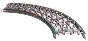 "Steel Skatewheel Curved Conveyor - 24"" wide, 90 deg curve"