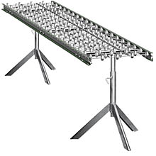 "Aluminum Skatewheel Conveyor - 10' long, 12"" wide, with tripod supports"