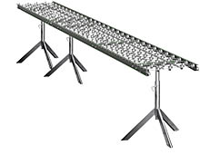 "Aluminum Skatewheel Conveyor - 15' long, 12"" wide, with tripod supports"