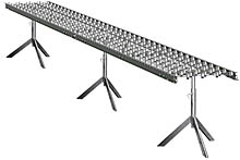 "Aluminum Skatewheel Conveyor - 20' long, 12"" wide, with tripod supports"