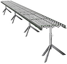 "Aluminum Skatewheel Conveyor - 25' long, 12"" wide, with tripod supports"