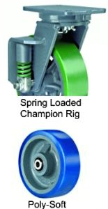 "Spring Loaded Champion Swivel Caster - 8"" x 3"" Poly-Soft Wheel, 850 lbs Cap., Tapered Bearing"
