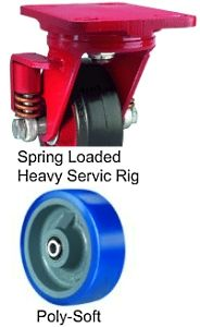"Spring Loaded Heavy Service Rigid Caster - 5"" x 2"" Poly-Soft Wheel, 840 lbs Cap., Ball Bearing"