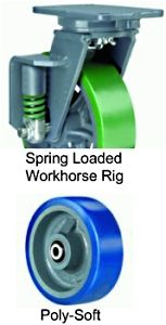"Spring Loaded Workhorse Rigid Caster - 8"" x 2"" Poly-Soft Wheel, 620 lbs Cap., Ball Bearing"