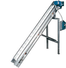 "Slider Bed Conveyor - 10' L x 13"" W, 35 Degrees Incline"