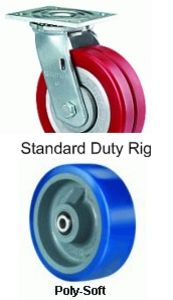 "Standard Duty Swivel Caster - 5"" x 2"" Poly-Soft Wheel, 840 lbs Cap., Ball Bearing"