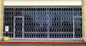Storefront Security Gate - 5' W x 8.5' H, w/ Fixed Top & Folding Bottom