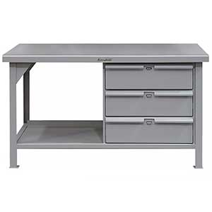 "Shop Table with 3 Drawers and 1 Shelf - 72""W x 36""D x 34""H"