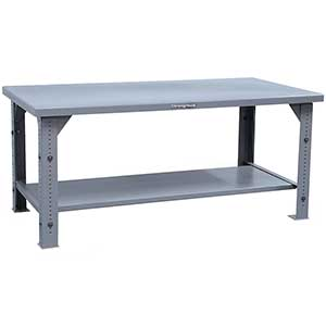 "Adjustable Leg Shop Table with Shelf - 60""W x 36""D x 30""H"