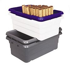 "Cross-Stack Tubs - 23-3/4"" L x 17-1/4"" W x 12"" H, Carton of 6"