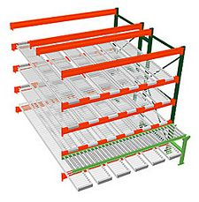 Pallet Rack w/ Flow Storage & Conveyor, 8H x 8W x 8D - 4 Shelves, 6 Lanes - Double Deep Adder