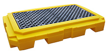 2-Drum Spill Containment Pallet - Low Profile, with Drain, Yellow