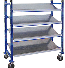 "Mobile Tilt Shelf with 4 shelf levels - 48""w x 24""d x 72""h"