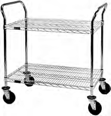 "Heavy Duty Utility Cart with 2 shelves and 5"" resilient rubber casters - 36""w x 21""d x 40""h"