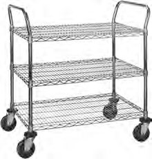"Medium Duty Utility Cart with 3 shelves and 5"" resilient rubber casters - 36""w x 24""d x 40""h"