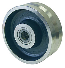 "V-Groove Iron Wheel, 8"" x 3"", 5000 lb. cap. for 3/4"" dia. axle & 3-1/2"" hub length, Tapered Bearing"