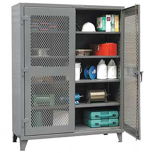 "Two Door Lockable Ventilated Cabinet with 4 Adjustable Shelves - 48""W x 24""D x 72""H"