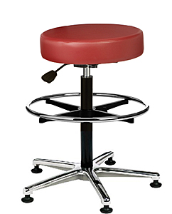 "Vinyl Upholstered Work Stool with Round Seat - 24"" - 34.5""H adjustable, 5-leg Polished Aluminum Base, Footring"