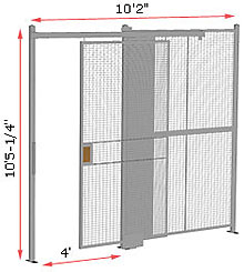 "1-Wall Woven Wire Security Partition, 10'-0"" wide, 10'5-1/4"" tall - 4' Sliding Gate"