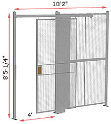 "1-Wall Woven Wire Security Partition, 10'-0"" wide, 8'5-1/4"" tall - 4' Sliding Gate"