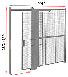"1-Wall Woven Wire Security Partition, 12'-0"" wide, 10'5-1/4"" tall - 4' Sliding Gate"